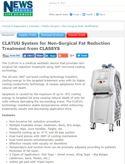 CLATUU System For Non-Surgical Fat Reduction Treatment From CLASSYS